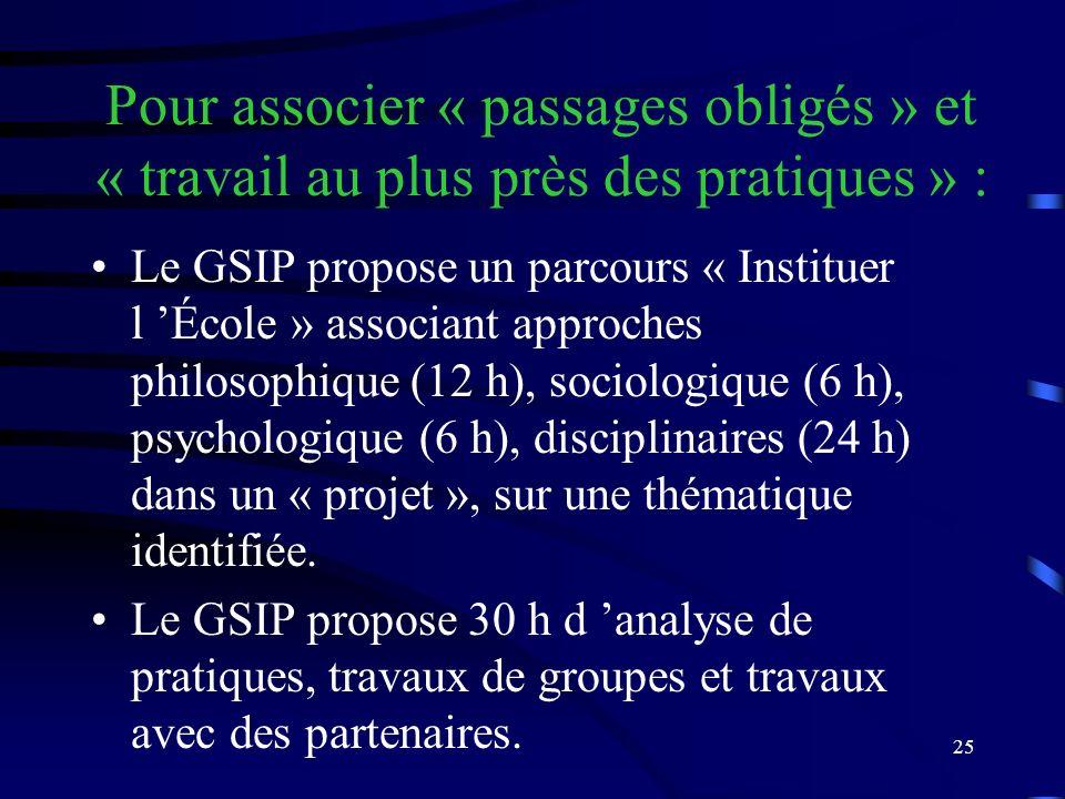 25 Pour associer « passages obligés » et « travail au plus près des pratiques » : Le GSIP propose un parcours « Instituer l École » associant approches philosophique (12 h), sociologique (6 h), psychologique (6 h), disciplinaires (24 h) dans un « projet », sur une thématique identifiée.