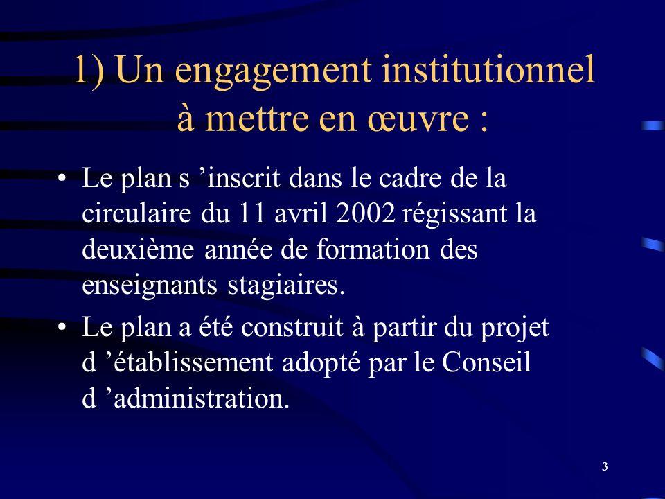 3 1) Un engagement institutionnel à mettre en œuvre : Le plan s inscrit dans le cadre de la circulaire du 11 avril 2002 régissant la deuxième année de formation des enseignants stagiaires.