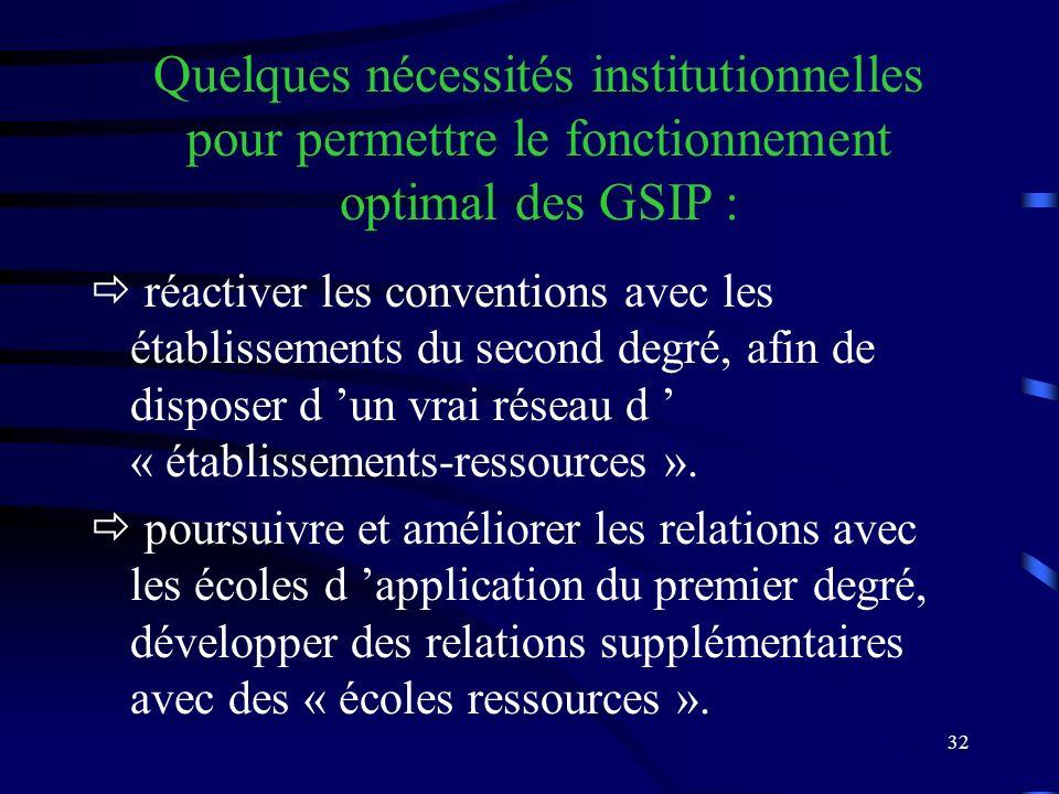 32 réactiver les conventions avec les établissements du second degré, afin de disposer d un vrai réseau d « établissements-ressources ».