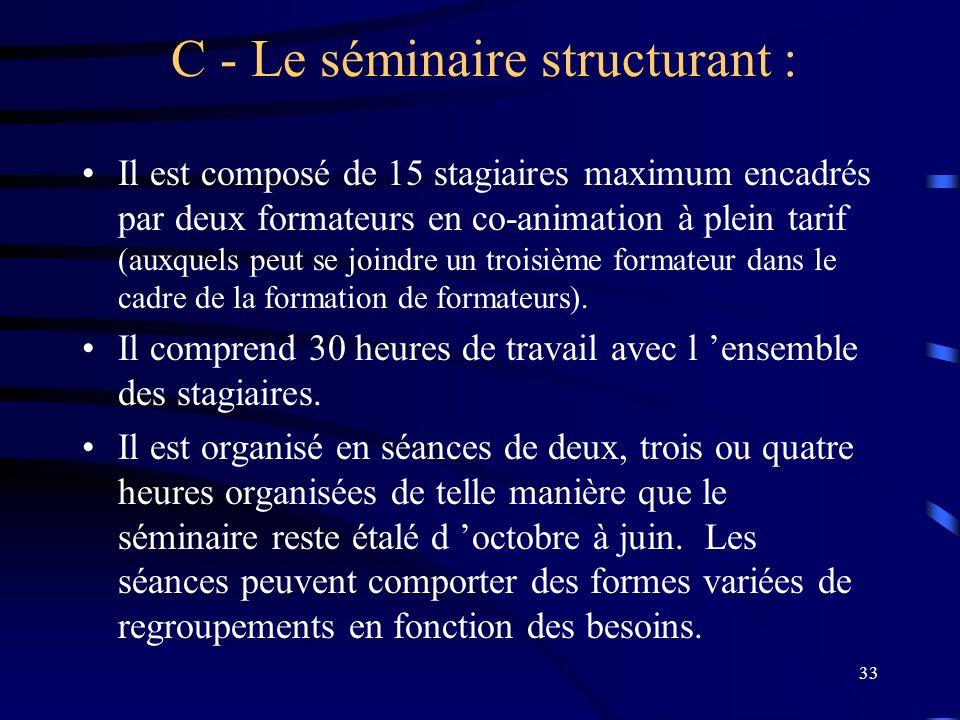 33 C - Le séminaire structurant : Il est composé de 15 stagiaires maximum encadrés par deux formateurs en co-animation à plein tarif (auxquels peut se joindre un troisième formateur dans le cadre de la formation de formateurs).