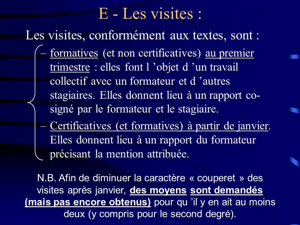 E - Les visites : Les visites, conformément aux textes, sont : –formatives (et non certificatives) au premier trimestre : elles font l objet d un travail collectif avec un formateur et d autres stagiaires.