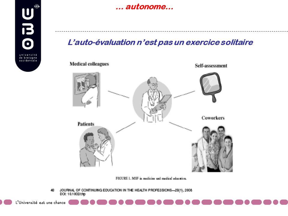 Lauto-évaluation nest pas un exercice solitaire … autonome…