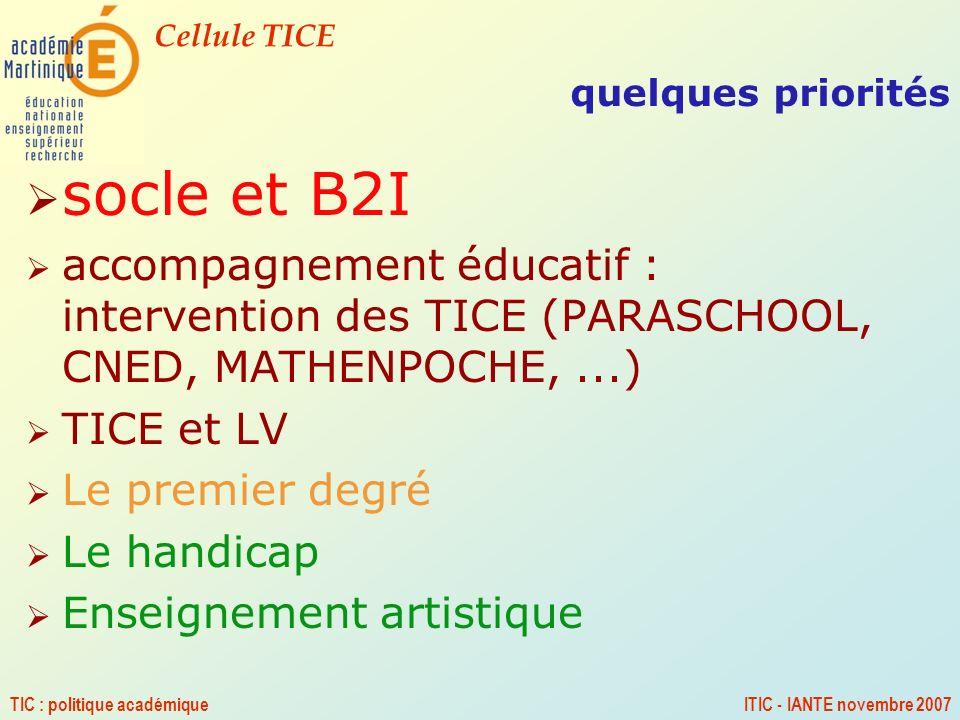 Cellule TICE TIC : politique académiqueITIC - IANTE novembre 2007 quelques priorités socle et B2I accompagnement éducatif : intervention des TICE (PAR