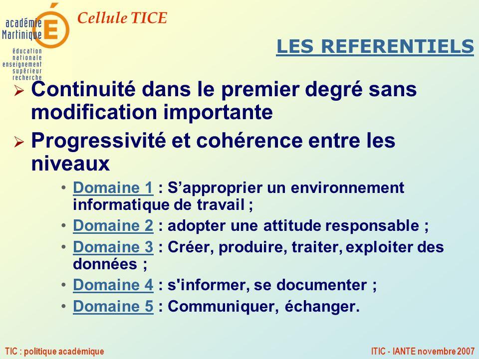 Cellule TICE TIC : politique académiqueITIC - IANTE novembre 2007 LES REFERENTIELS Continuité dans le premier degré sans modification importante Progr
