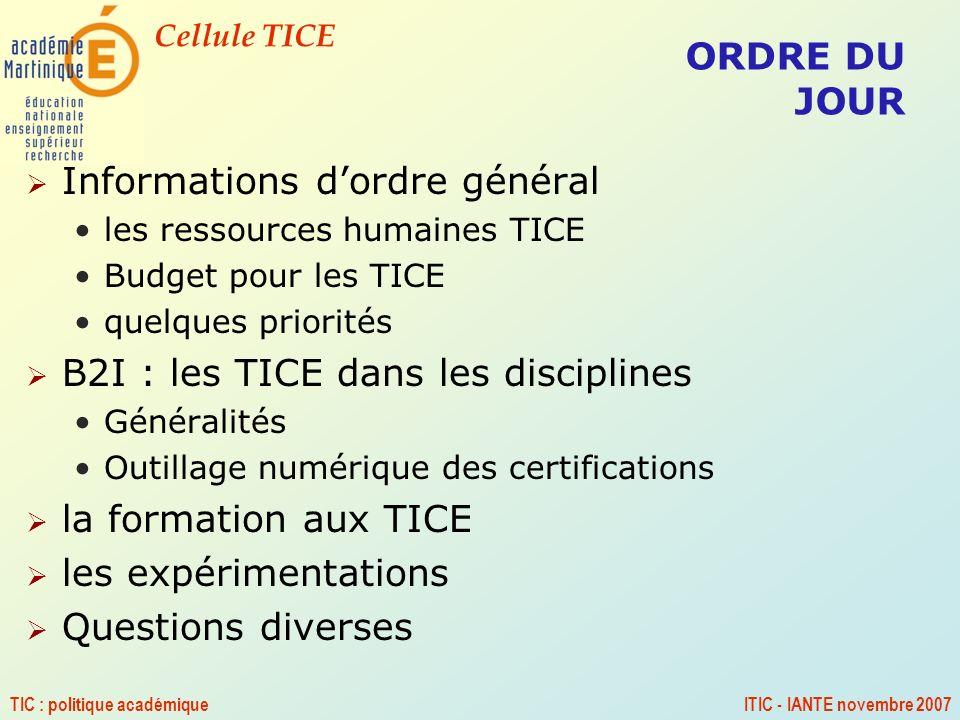 Cellule TICE TIC : politique académiqueITIC - IANTE novembre 2007 QUESTIONS DIVERSES ??