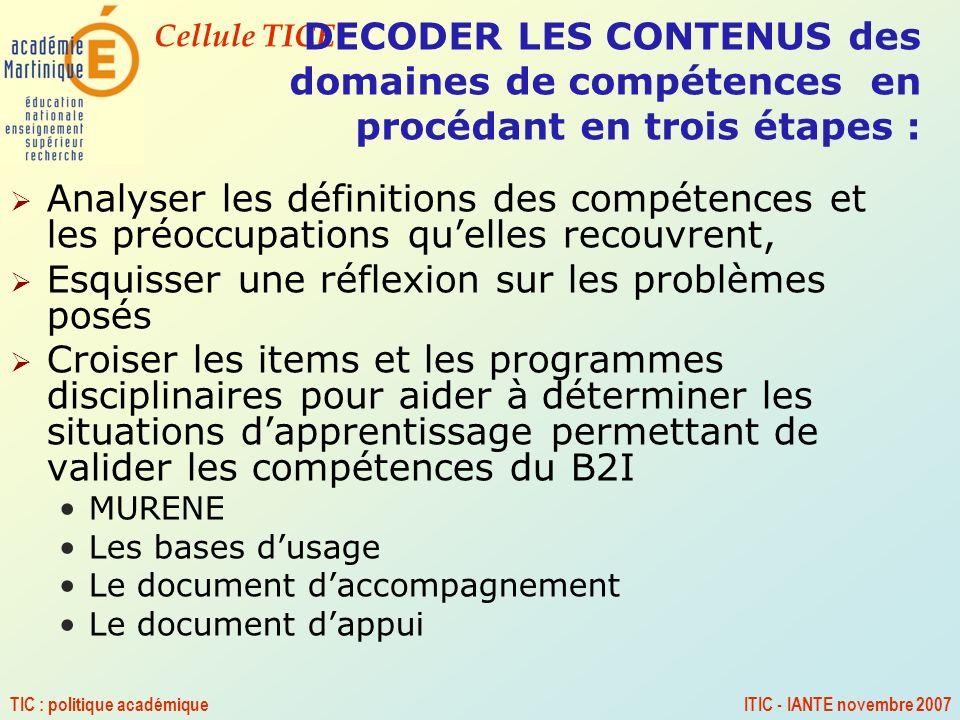 Cellule TICE TIC : politique académiqueITIC - IANTE novembre 2007 DECODER LES CONTENUS des domaines de compétences en procédant en trois étapes : Anal