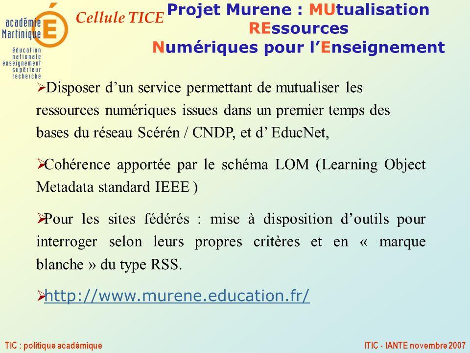 Cellule TICE TIC : politique académiqueITIC - IANTE novembre 2007 Projet Murene : MUtualisation REssources Numériques pour lEnseignement Disposer dun
