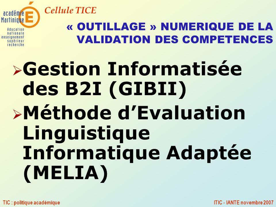 Cellule TICE TIC : politique académiqueITIC - IANTE novembre 2007 « OUTILLAGE » NUMERIQUE DE LA VALIDATION DES COMPETENCES Gestion Informatisée des B2