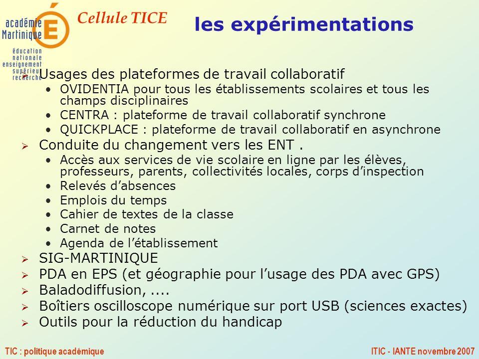 Cellule TICE TIC : politique académiqueITIC - IANTE novembre 2007 les expérimentations Usages des plateformes de travail collaboratif OVIDENTIA pour t