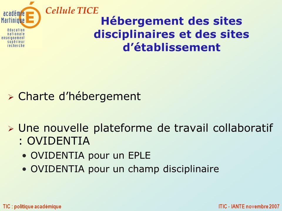 Cellule TICE TIC : politique académiqueITIC - IANTE novembre 2007 Hébergement des sites disciplinaires et des sites détablissement Charte dhébergement
