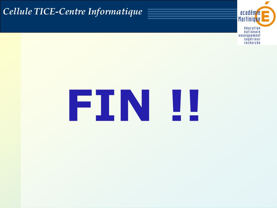 Cellule TICE-Centre Informatique FIN !!