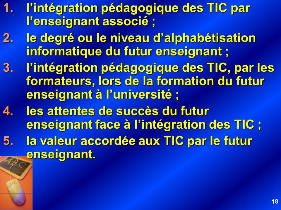 18 1.lintégration pédagogique des TIC par lenseignant associé ; 2.le degré ou le niveau dalphabétisation informatique du futur enseignant ; 3.lintégra