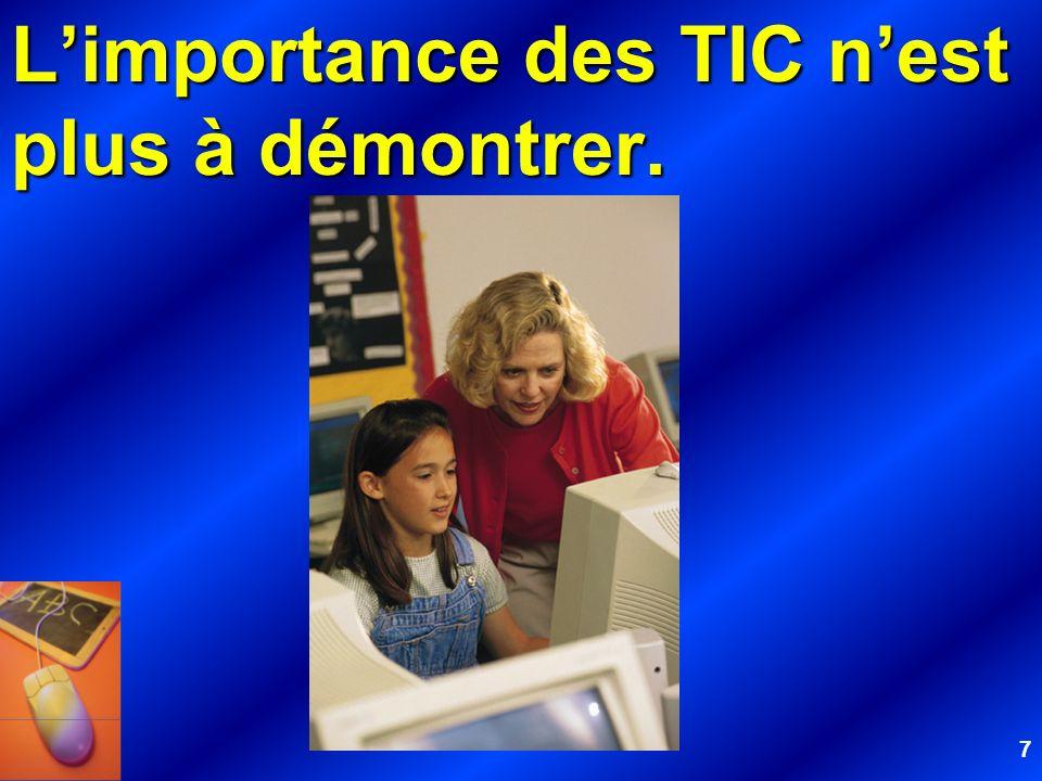 48 De surcroît, la présence trop souvent discrète des TIC dans la formation initiale des enseignants pourrait éventuellement avoir un impact négatif sur les élèves auprès desquels auront à oeuvrer les futurs enseignants...