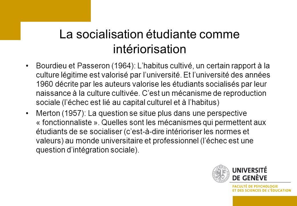 La socialisation étudiante comme intériorisation Bourdieu et Passeron (1964): Lhabitus cultivé, un certain rapport à la culture légitime est valorisé par luniversité.