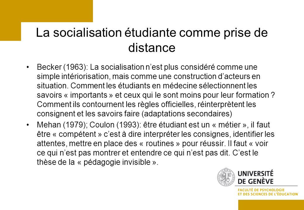 La socialisation étudiante comme prise de distance Becker (1963): La socialisation nest plus considéré comme une simple intériorisation, mais comme une construction dacteurs en situation.