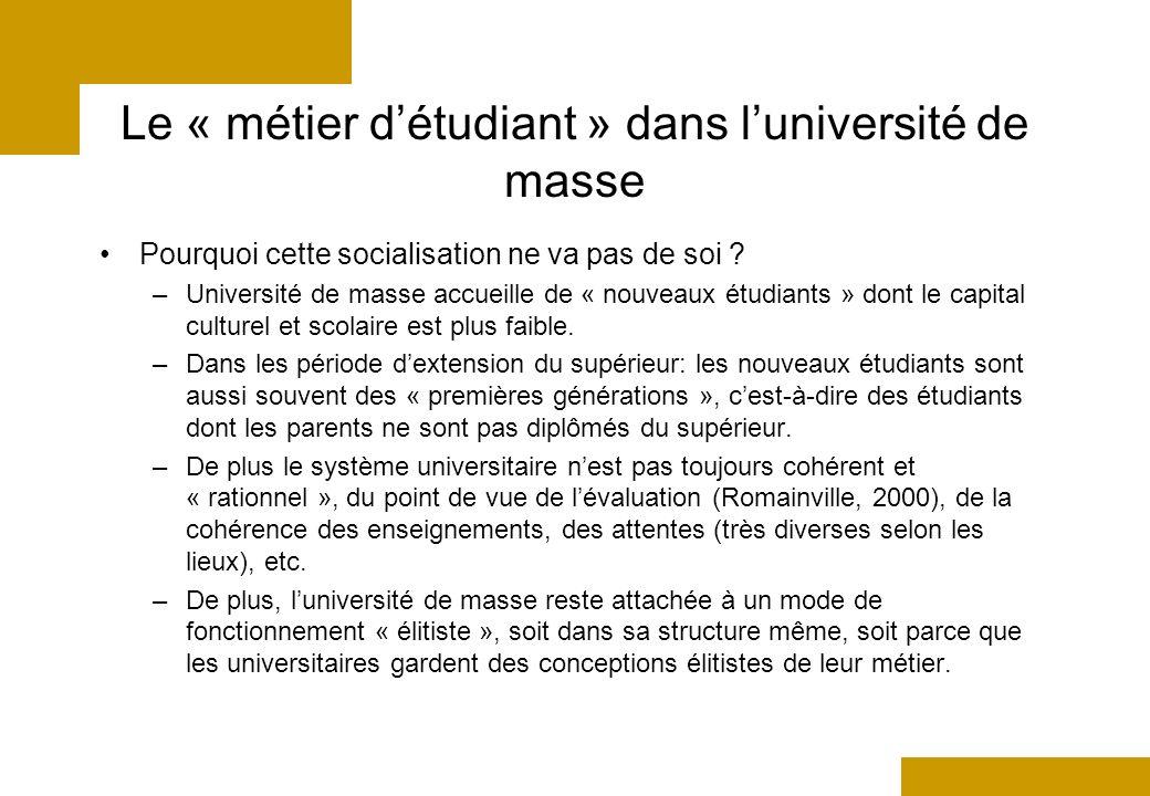 Le « métier détudiant » dans luniversité de masse Pourquoi cette socialisation ne va pas de soi .