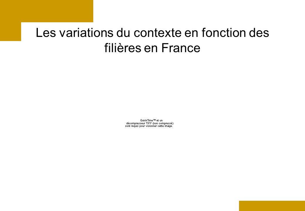 Les variations du contexte en fonction des filières en France