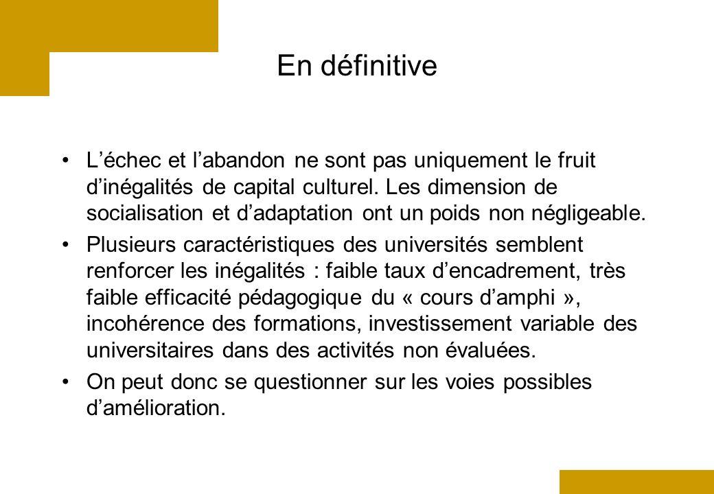 En définitive Léchec et labandon ne sont pas uniquement le fruit dinégalités de capital culturel.