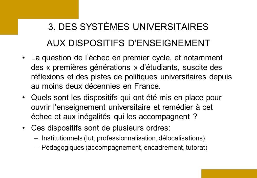 3. DES SYSTÈMES UNIVERSITAIRES AUX DISPOSITIFS DENSEIGNEMENT La question de léchec en premier cycle, et notamment des « premières générations » détudi