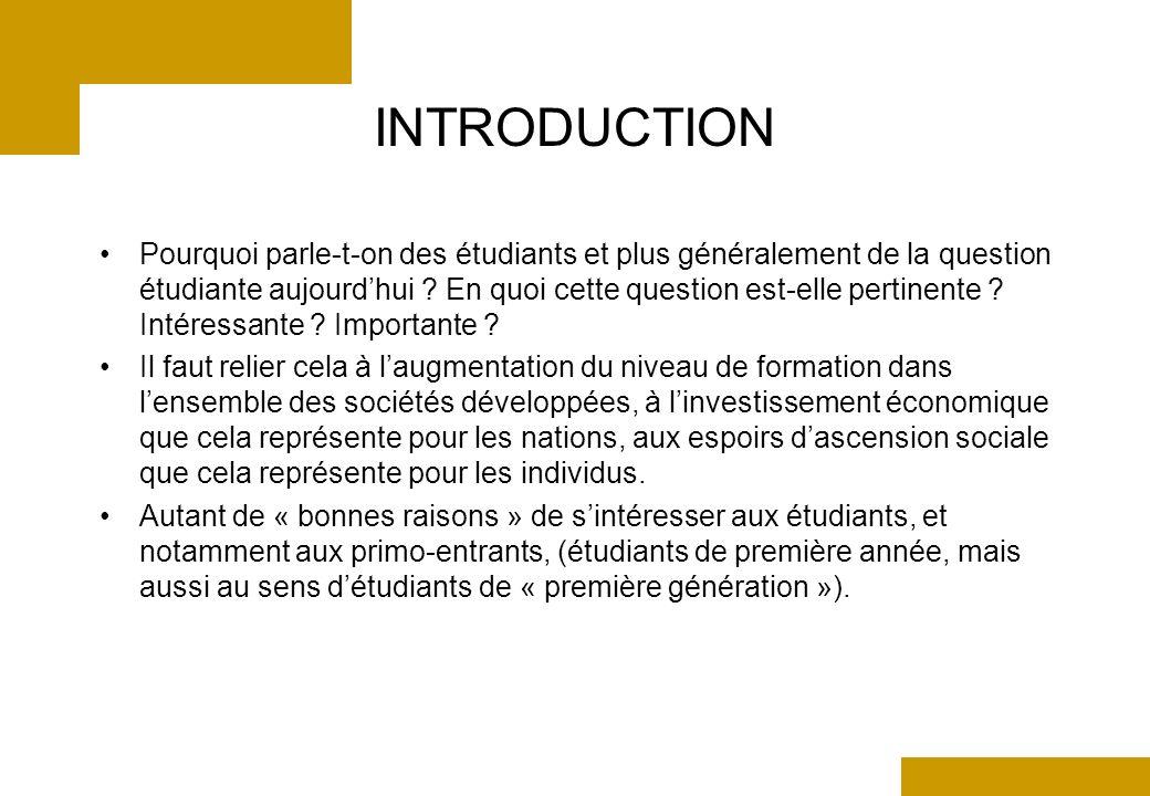 INTRODUCTION Pourquoi parle-t-on des étudiants et plus généralement de la question étudiante aujourdhui .