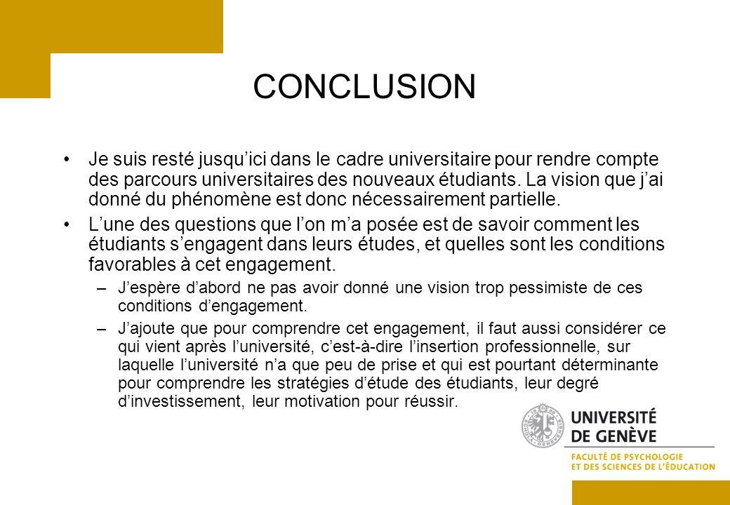 CONCLUSION Je suis resté jusquici dans le cadre universitaire pour rendre compte des parcours universitaires des nouveaux étudiants.