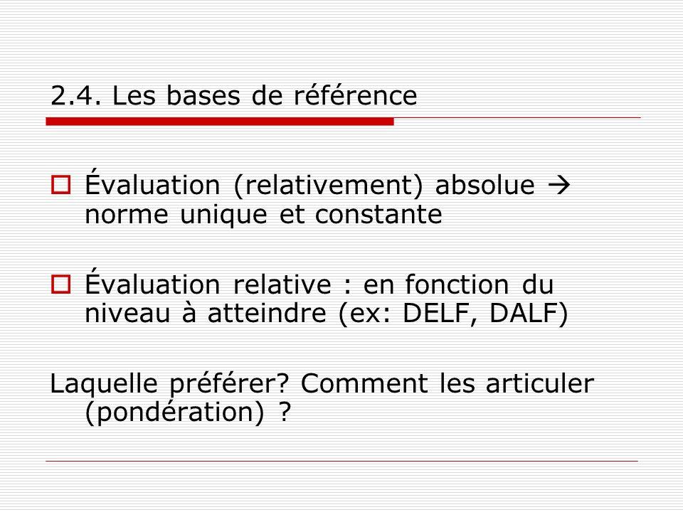 2.4. Les bases de référence Évaluation (relativement) absolue norme unique et constante Évaluation relative : en fonction du niveau à atteindre (ex: D