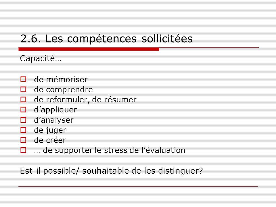 2.6. Les compétences sollicitées Capacité… de mémoriser de comprendre de reformuler, de résumer dappliquer danalyser de juger de créer … de supporter