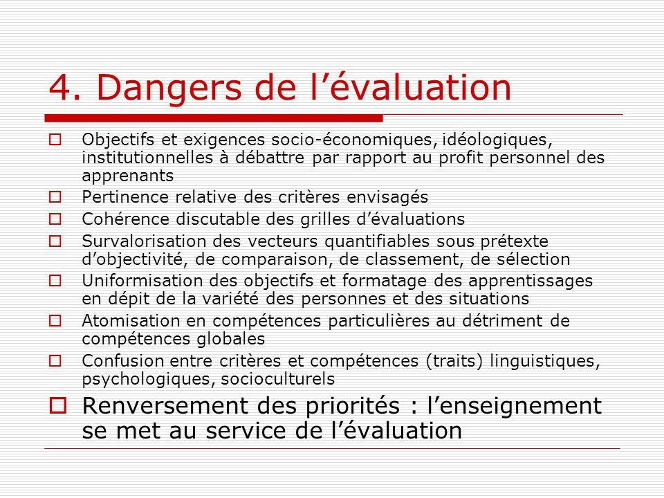 4. Dangers de lévaluation Objectifs et exigences socio-économiques, idéologiques, institutionnelles à débattre par rapport au profit personnel des app