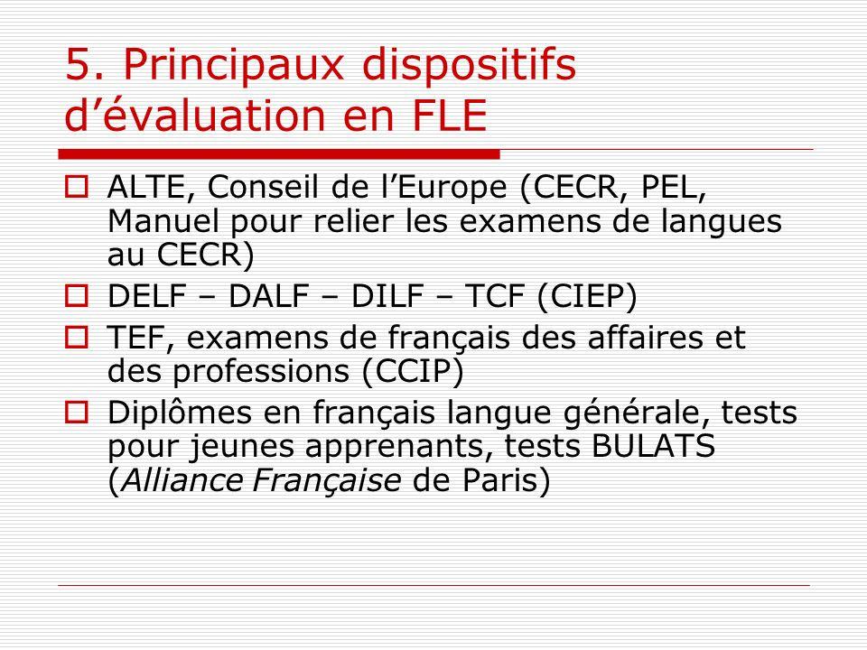 5. Principaux dispositifs dévaluation en FLE ALTE, Conseil de lEurope (CECR, PEL, Manuel pour relier les examens de langues au CECR) DELF – DALF – DIL
