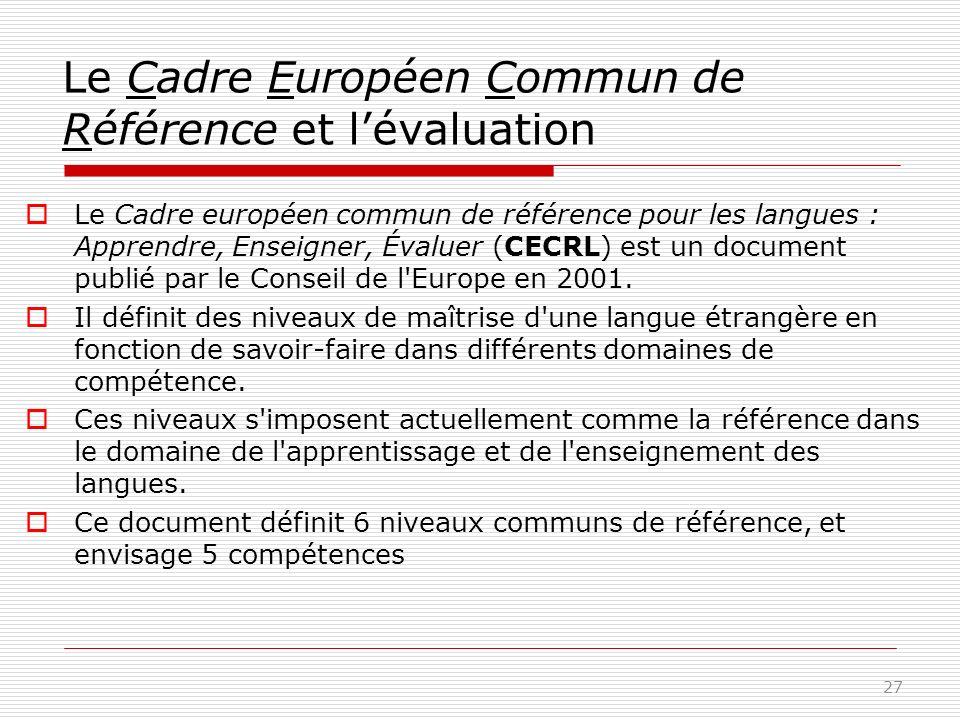 Le Cadre Européen Commun de Référence et lévaluation Le Cadre européen commun de référence pour les langues : Apprendre, Enseigner, Évaluer (CECRL) est un document publié par le Conseil de l Europe en 2001.