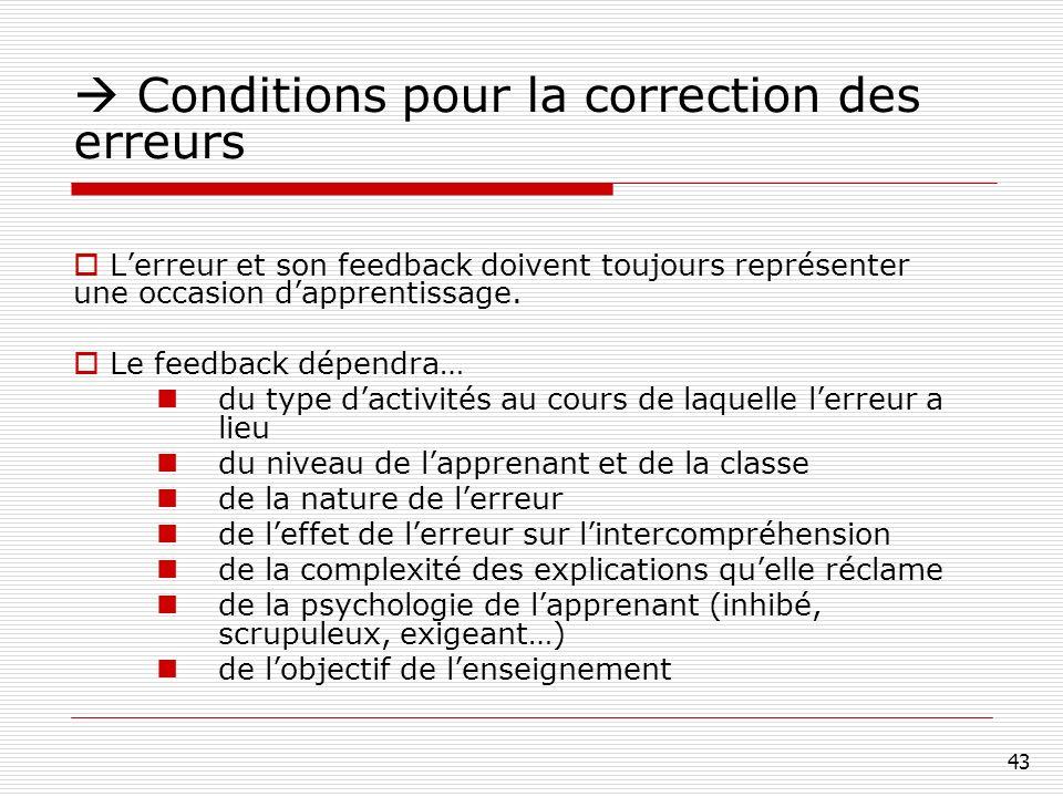 43 Conditions pour la correction des erreurs Lerreur et son feedback doivent toujours représenter une occasion dapprentissage.