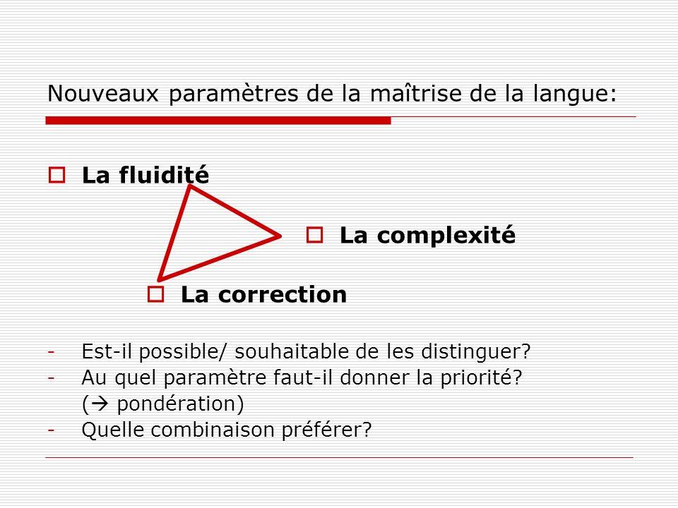 Nouveaux paramètres de la maîtrise de la langue: La fluidité La complexité La correction -Est-il possible/ souhaitable de les distinguer.