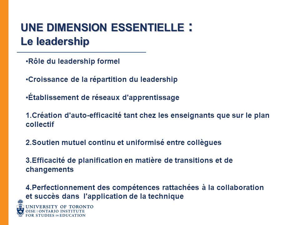 UNE DIMENSION ESSENTIELLE : Le leadership Rôle du leadership formel Croissance de la répartition du leadership Établissement de réseaux d'apprentissag