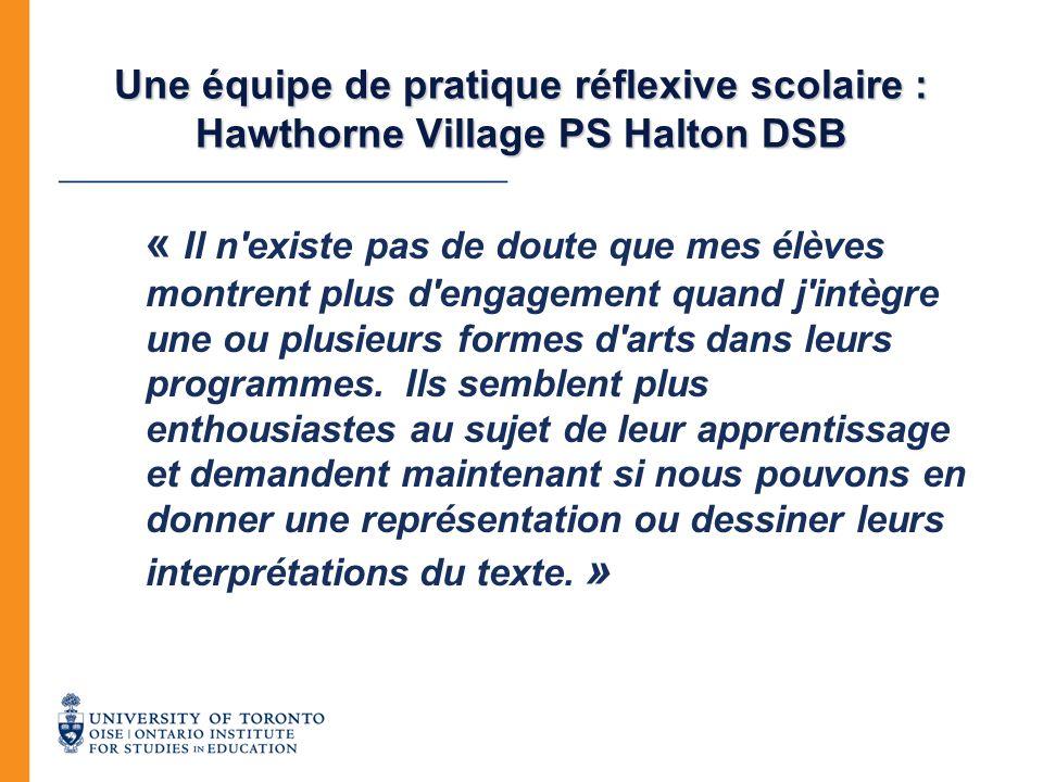 Une équipe de pratique réflexive scolaire : Hawthorne Village PS Halton DSB « Il n'existe pas de doute que mes élèves montrent plus d'engagement quand