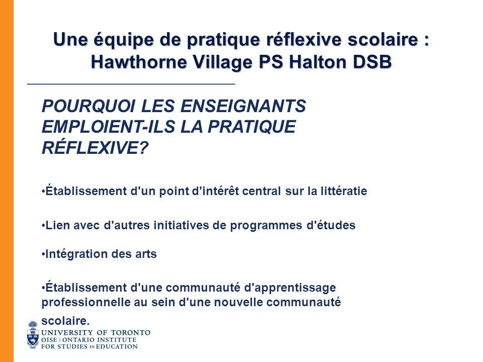 Une équipe de pratique réflexive scolaire : Hawthorne Village PS Halton DSB POURQUOI LES ENSEIGNANTS EMPLOIENT-ILS LA PRATIQUE RÉFLEXIVE? Établissemen