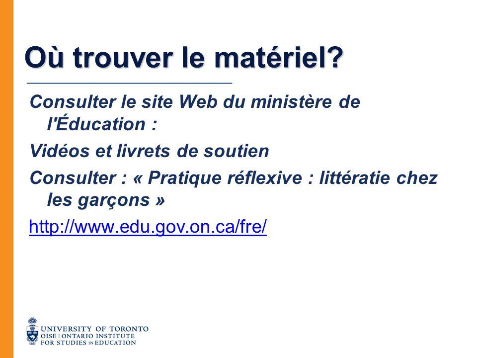 Où trouver le matériel? Consulter le site Web du ministère de l'Éducation : Vidéos et livrets de soutien Consulter : « Pratique réflexive : littératie