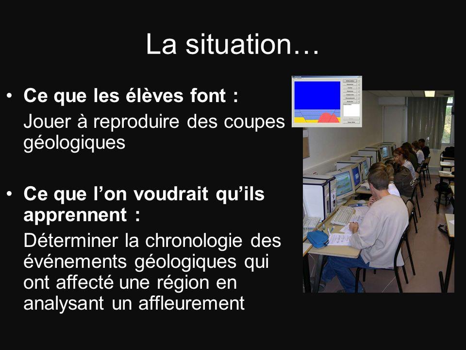 La situation… Ce que les élèves font : Jouer à reproduire des coupes géologiques Ce que lon voudrait quils apprennent : Déterminer la chronologie des