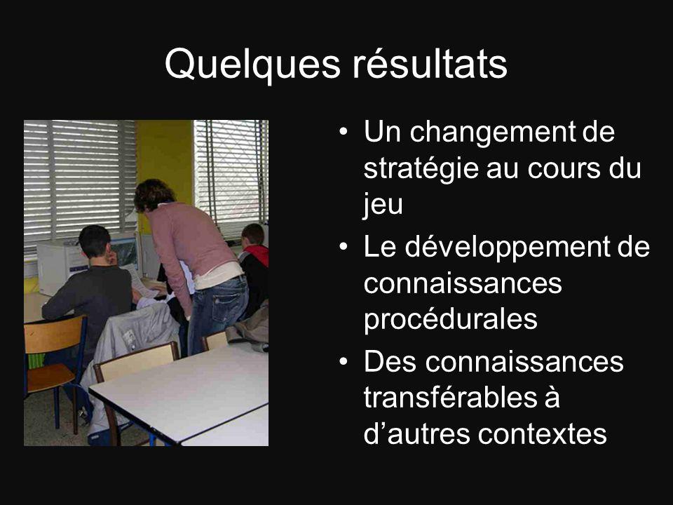 Quelques résultats Un changement de stratégie au cours du jeu Le développement de connaissances procédurales Des connaissances transférables à dautres
