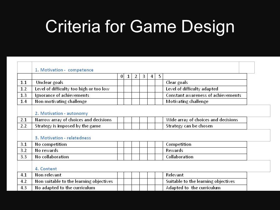 Criteria for Game Design