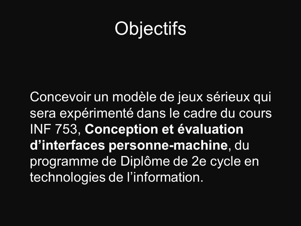 Objectifs Concevoir un modèle de jeux sérieux qui sera expérimenté dans le cadre du cours INF 753, Conception et évaluation dinterfaces personne-machi