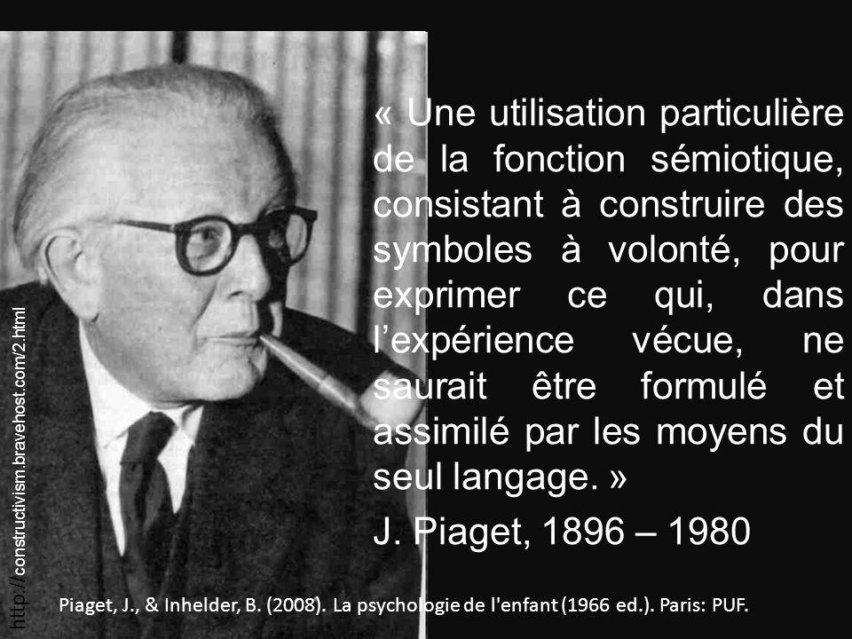 « Une utilisation particulière de la fonction sémiotique, consistant à construire des symboles à volonté, pour exprimer ce qui, dans lexpérience vécue