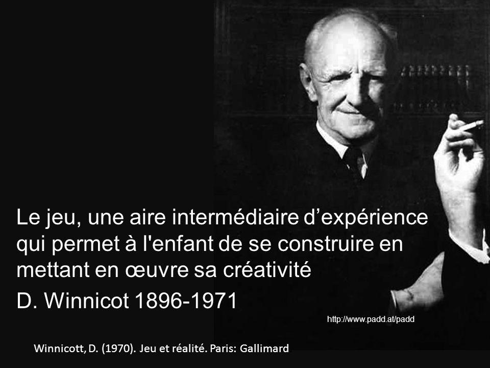 Winnicott, D. (1970). Jeu et réalité. Paris: Gallimard. Le jeu, une aire intermédiaire dexpérience qui permet à l'enfant de se construire en mettant e
