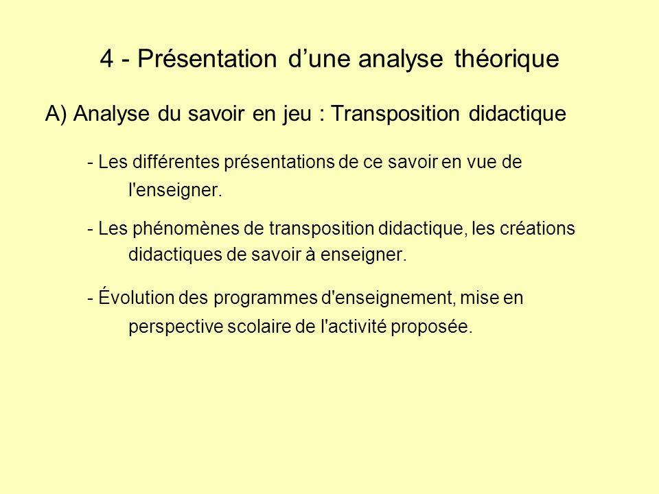 A) Analyse du savoir en jeu : Transposition didactique - Les différentes présentations de ce savoir en vue de l'enseigner. - Les phénomènes de transpo