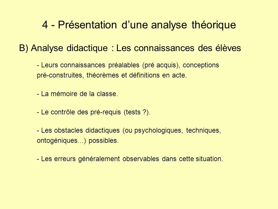 B) Analyse didactique : Les connaissances des élèves - Leurs connaissances préalables (pré acquis), conceptions pré-construites, théorèmes et définitions en acte.