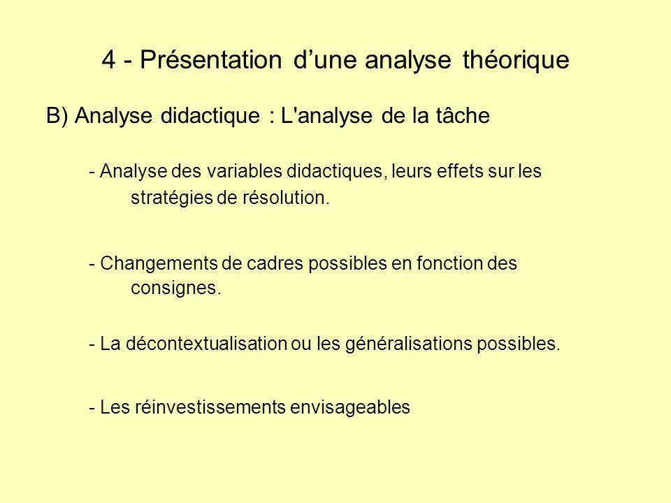 B) Analyse didactique : L'analyse de la tâche - Analyse des variables didactiques, leurs effets sur les stratégies de résolution. - Changements de cad