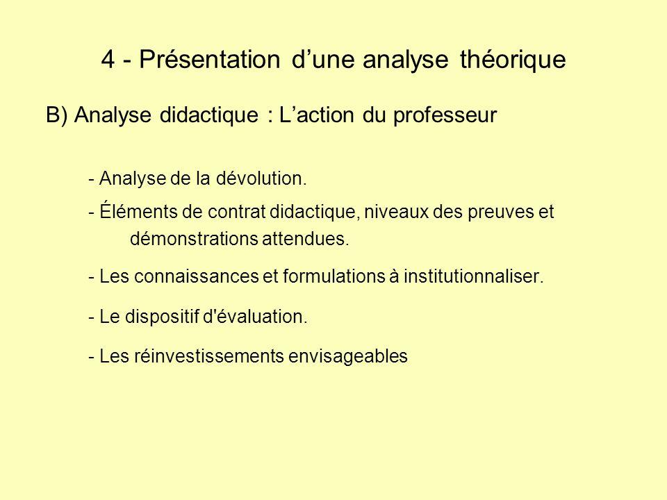 B) Analyse didactique : Laction du professeur - Analyse de la dévolution. - Éléments de contrat didactique, niveaux des preuves et démonstrations atte