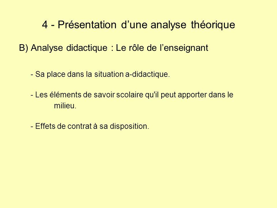 B) Analyse didactique : Le rôle de lenseignant - Sa place dans la situation a-didactique. - Les éléments de savoir scolaire qu'il peut apporter dans l