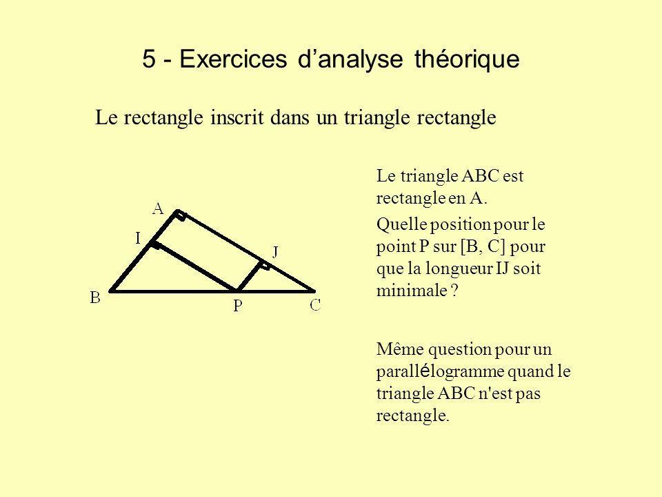 5 - Exercices danalyse théorique Le triangle ABC est rectangle en A. Quelle position pour le point P sur [B, C] pour que la longueur IJ soit minimale