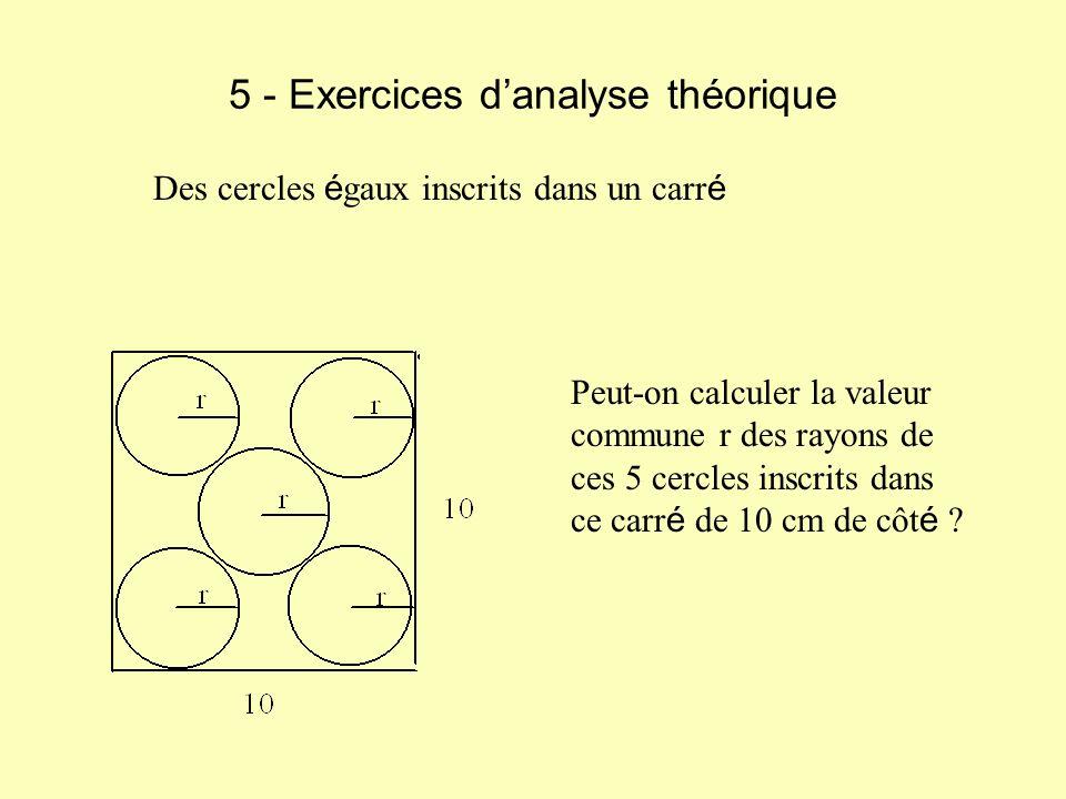 5 - Exercices danalyse théorique Des cercles é gaux inscrits dans un carr é Peut-on calculer la valeur commune r des rayons de ces 5 cercles inscrits dans ce carr é de 10 cm de côt é ?