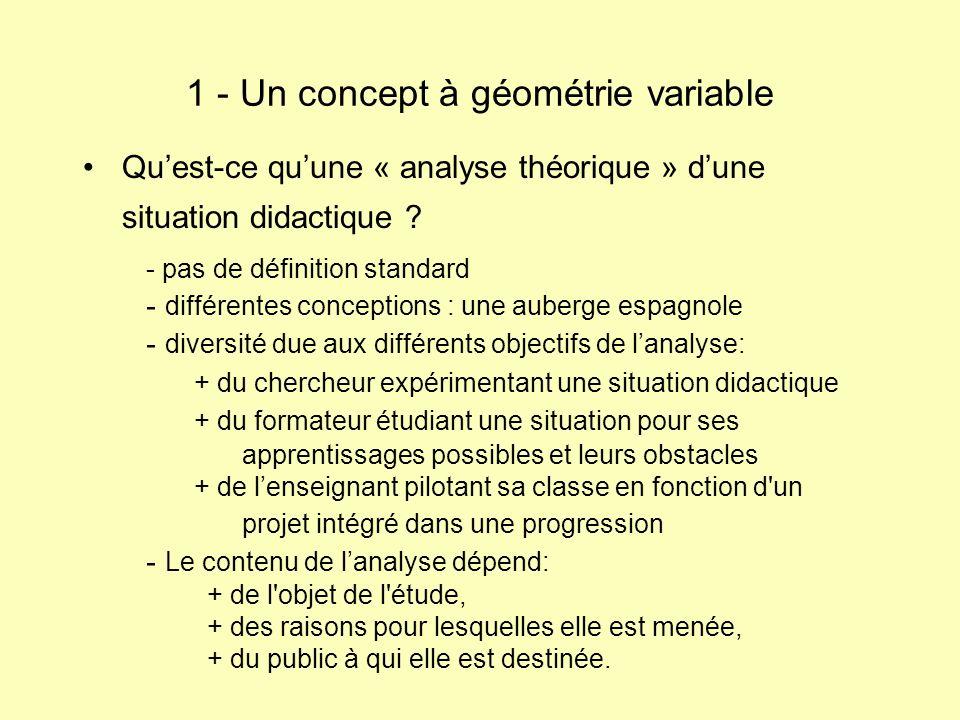 Quest-ce quune « analyse théorique » dune situation didactique ? 1 - Un concept à géométrie variable - pas de définition standard - différentes concep